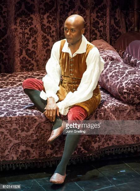 Chu Omambala as John Churchill performs on stage in a production of 'Queen Anne' by the RSC at Theatre Royal on July 6 2017 in London England