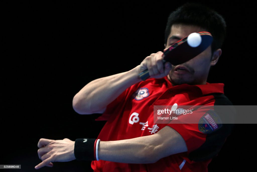 <a gi-track='captionPersonalityLinkClicked' href=/galleries/search?phrase=Chuang+Chih-Yuan&family=editorial&specificpeople=5834771 ng-click='$event.stopPropagation()'>Chuang Chih-Yuan</a> of Chinese Taipei in action during the Men's Singles Challenge against Wong Chun Ting of Hong Kong during day two of the Nakheel Table Tennis Asian Cup 2016 at Dubai World Trade Centre on April 29, 2016 in Dubai, United Arab Emirates.
