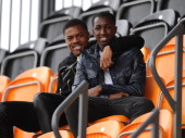 Chuba Akpom and Glen Kamara Arsenal Youth Players in the stands during the match between Arsenal Ladies and Birmingham City Ladies in the UEFA Womens...