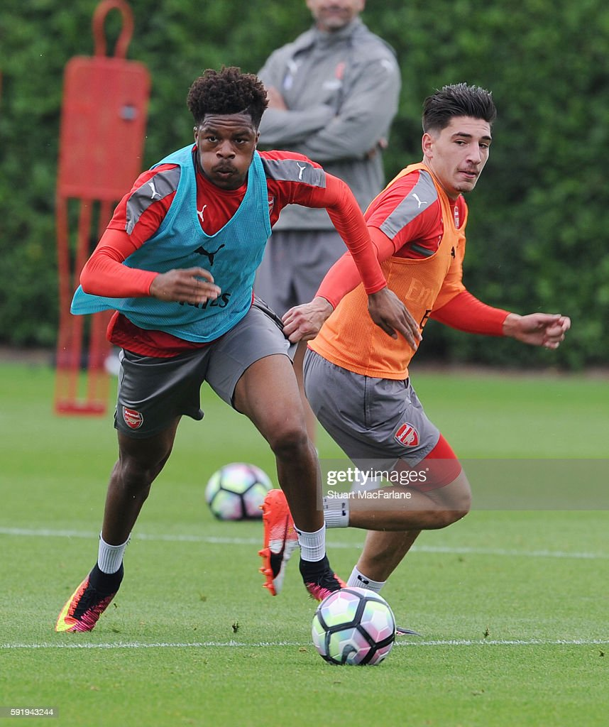Chuba Akpom and Hector Bellerin of Arsenal during a training session at London Colney on August 19 2016 in St Albans England