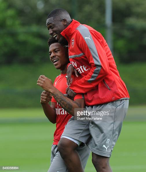 Chuba Akpom and Yaya Sanogo of Arsenal during a training session at London Colney on July 5 2016 in St Albans England
