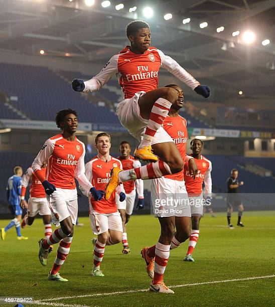 Chuba Akpom celebrates scoring Arsenal's 2nd goal his 1st during the match between Brighton and Hove Albion and Arsenal in the Barclays Premier U21...