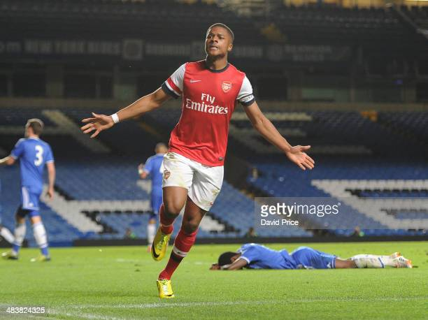 Chuba Akpom celebrates scoring Arsenal's goal during the match between Chelsea and Arsenal in the FA Youth Cup Semi Final 1st Leg at Stamford Bridge...