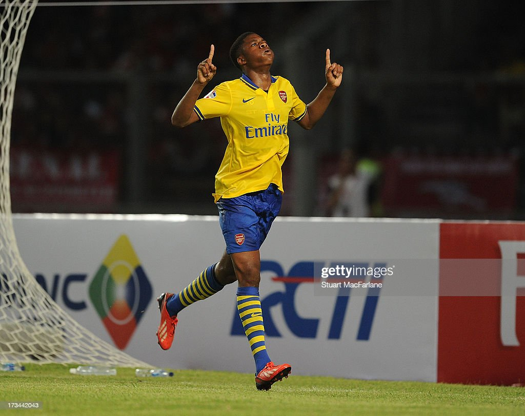 <a gi-track='captionPersonalityLinkClicked' href=/galleries/search?phrase=Chuba+Akpom&family=editorial&specificpeople=8082058 ng-click='$event.stopPropagation()'>Chuba Akpom</a> celebrates scoring for Arsenal during the match between Arsenal and the Indonesia All-Stars at Gelora Bung Karno Stadium on July 14, 2013 in Jakarta, Indonesia.