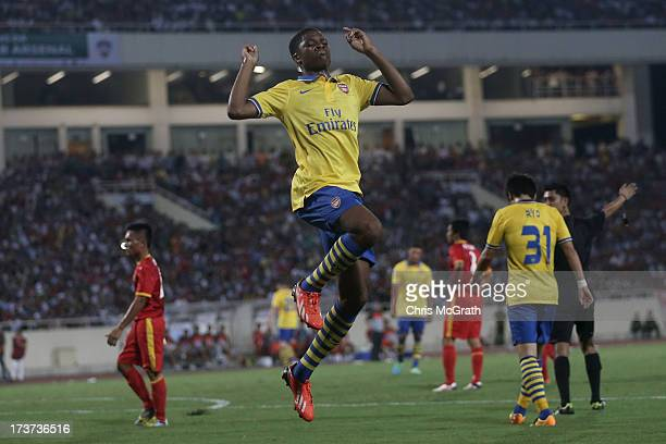 Chuba Akpom of Arsenal celebrates after scoring a goal against Vietnam during the international friendly match between Vietnam and Arsenal FC at My...