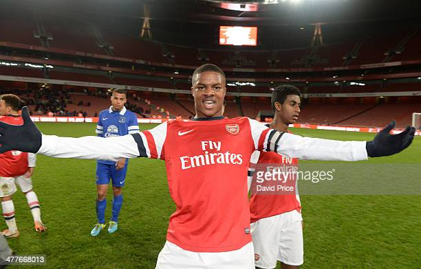 Chuba Akpom of Arsenal celebrates after the match between Arsenal and Everton in the FA Youth Cup 6th Round at Emirates Stadium on March 10 2014 in...