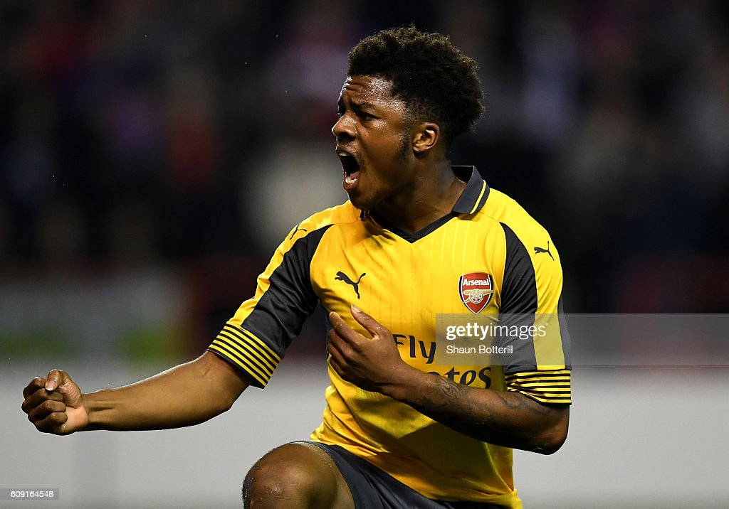 Chuba Akpom of Arsenal celebrates after winning a penalty which lead to his sides second goal during the EFL Cup Third Round match between Nottingham Forest and Arsenal at City Ground on September 20, 2016 in Nottingham, England.