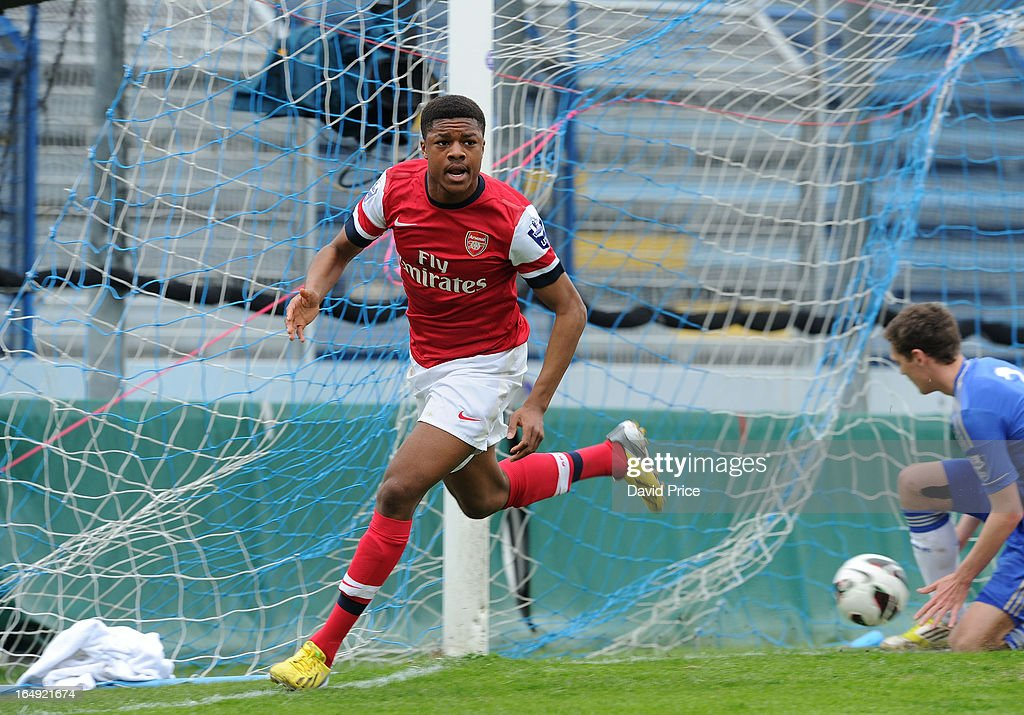 <a gi-track='captionPersonalityLinkClicked' href=/galleries/search?phrase=Chuba+Akpom&family=editorial&specificpeople=8082058 ng-click='$event.stopPropagation()'>Chuba Akpom</a> of Arsenal celebrates scoring the 1st Arsenal goal during the NextGen Series Semi Final match between Arsenal and Chelsea at Stadio Guiseppe Sinigallia on March 29, 2013 in Como, Italy.