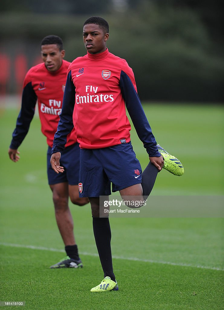 Chuba Akpom of Arsenal during a training session at London Colney on September 21, 2013 in St Albans, England.