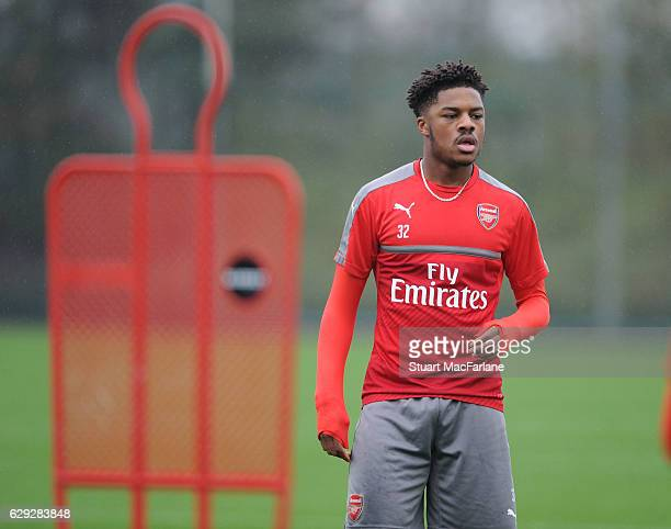Chuba Akpom of Arsenal during a training session at London Colney on December 12 2016 in St Albans England
