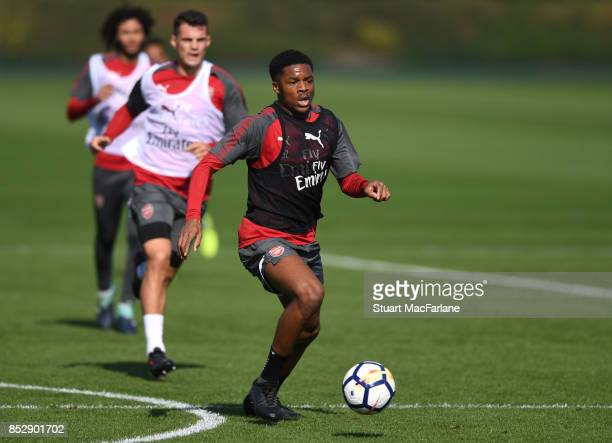 Chuba Akpom of Arsenal during a training session at London Colney on September 24 2017 in St Albans England