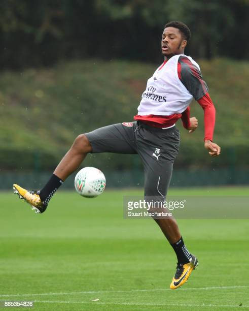 Chuba Akpom of Arsenal during a training session at London Colney on October 23 2017 in St Albans England
