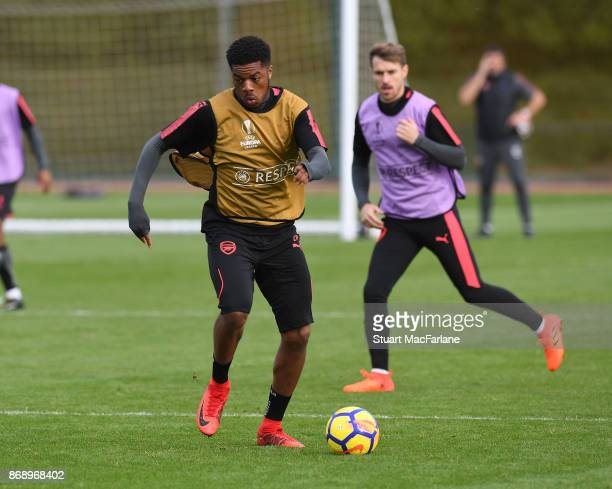 Chuba Akpom of Arsenal during a training session at London Colney on November 1 2017 in St Albans England