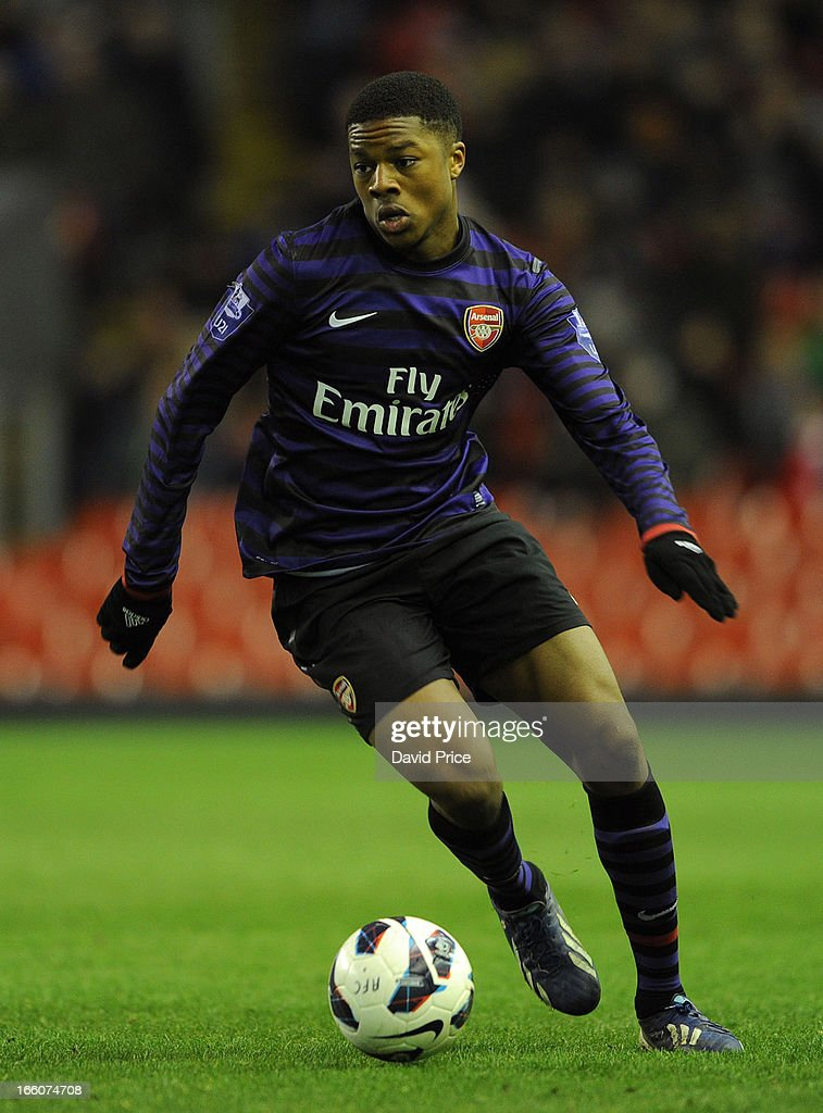 <a gi-track='captionPersonalityLinkClicked' href=/galleries/search?phrase=Chuba+Akpom&family=editorial&specificpeople=8082058 ng-click='$event.stopPropagation()'>Chuba Akpom</a> of Arsenal during the Barclays Under-21 League match between Liverpool U21 and Arsenal U21 at Anfield on April 08, 2013 in Liverpool, England.