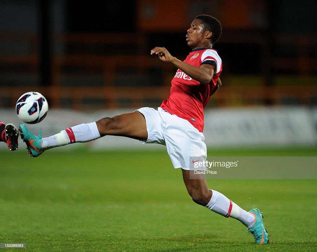 Chuba Akpom of Arsenal during the NextGen Series match between Arsenal U19 and Olympiacos U19 at Underhill Stadium on October 4, 2012 in Barnet, United Kingdom.
