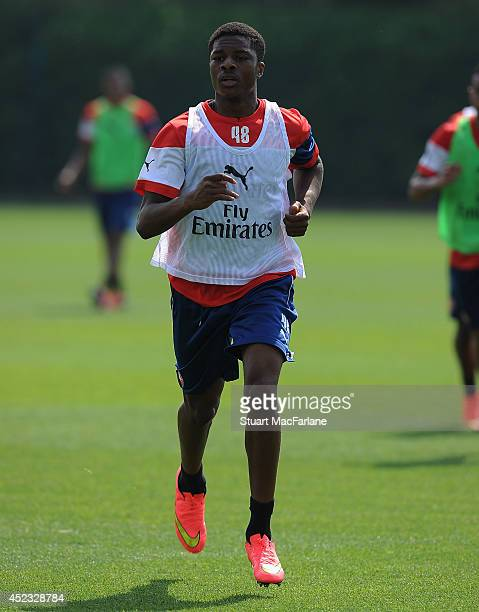 Chuba Akpom of Arsenal in action during a training sesion at London Colney on July 18 2014 in St Albans England