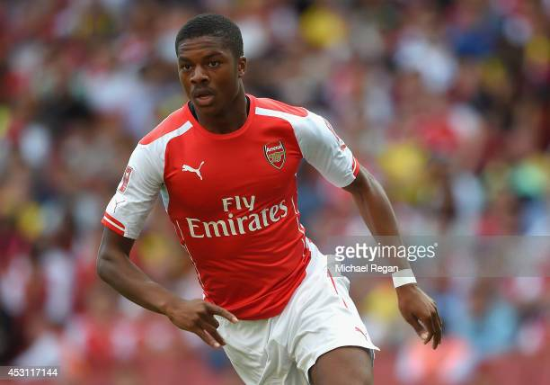 Chuba Akpom of Arsenal in action during the Emirates Cup match between Arsenal and AS Monaco at the Emirates Stadium on August 3 2014 in London...