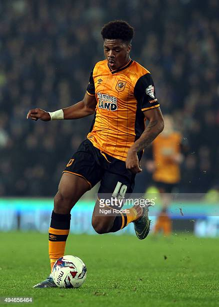 Chuba Akpom of Hull City in action during the Capital One Cup Fourth Round match between Hull City and Leicester City at KC Stadium on October 27...