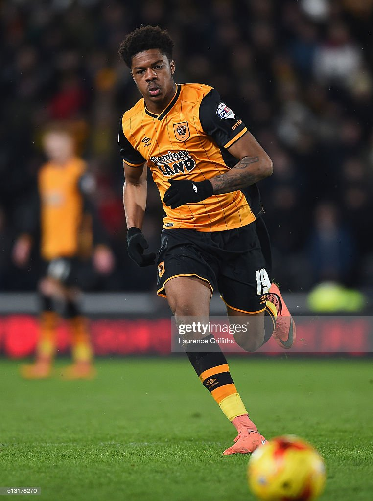 Chuba Akpom of Hull City in action during the Sky Bet Championship match between Hull City and Brighton and Hove Albion at KC Stadium on February 16...