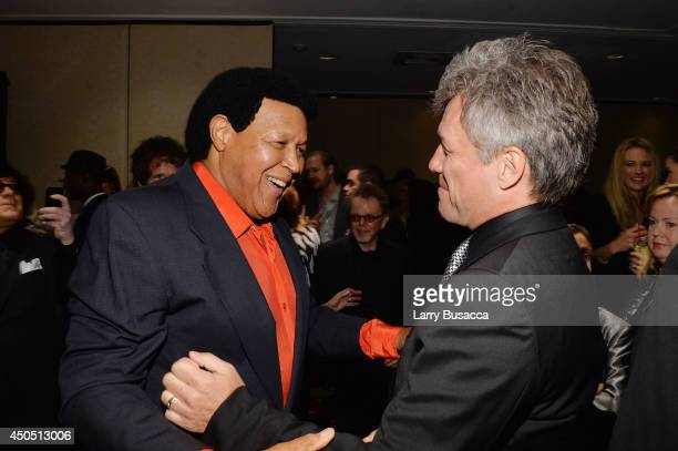 Chubby Checker and Jon Bon Jovi attend Songwriters Hall of Fame 45th Annual Induction And Awards at Marriott Marquis Theater on June 12 2014 in New...