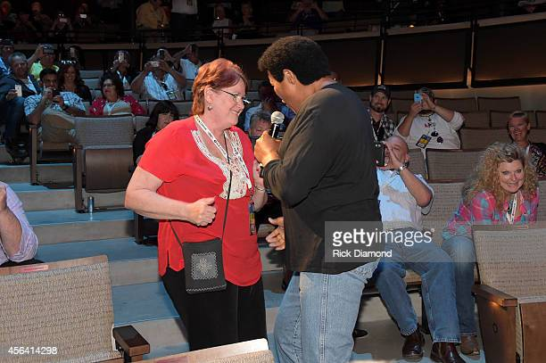 Chubby Checker dances with guest at the Paradise Artists Party during Day 4 of the IEBA 2014 Conference on September 30 2014 in Nashville Tennessee