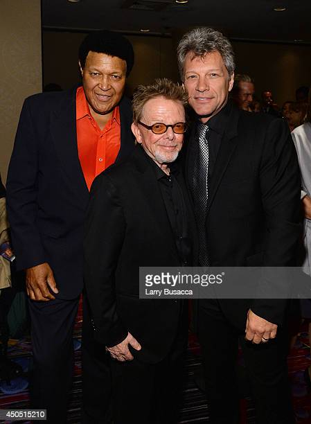 Chubby Checker Paul Williams and Jon Bon Jovi attend Songwriters Hall of Fame 45th Annual Induction And Awards at Marriott Marquis Theater on June 12...