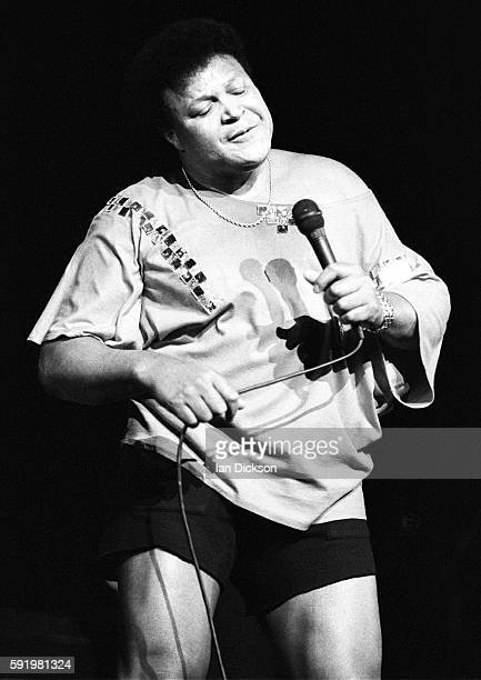 Chubby Checker performing on stage at Hammersmith Odeon London 08 November 1989