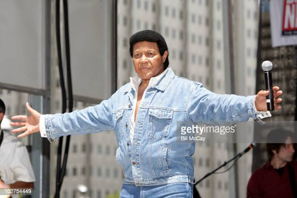 Chubby Checker performs a free concert to celebrate the 50th Anniversary of 'The Twist' at Dilworth PlazaCity Hall July 9 2010 in Philadelphia...