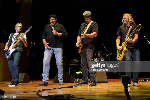 Chubby Checker performs onstage with Craig MacGregor Bryan Bassett and Charlie Huhn of Foghat at the Paradise Artists Party during Day 4 of the IEBA...