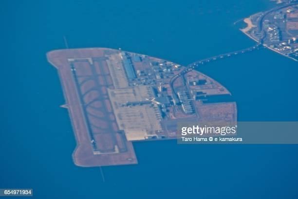 Chubu Centrair International Airport, daytime aerial view from airplane