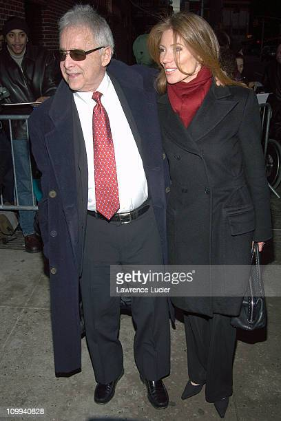Chuck Barris and Mary during Chuck Barris Arrives At David Letterman at Ed Sullivan Theater in New York New York United States