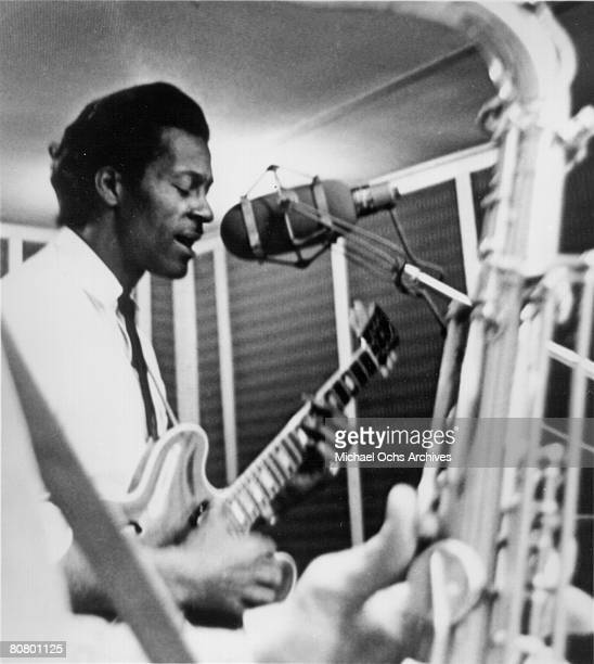 Chuck Berry in Chess Records recording studio circa 1960 in Chicago Illinois