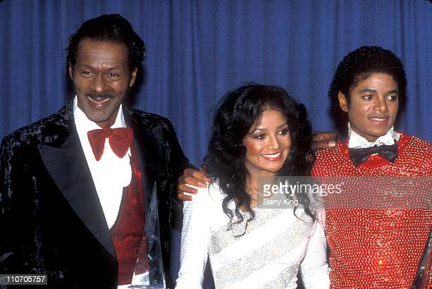 Chuck Berry LaToya Jackson Michael Jackson during 1981 American Music Awards at Shrine Auditorium in Los Angeles California United States