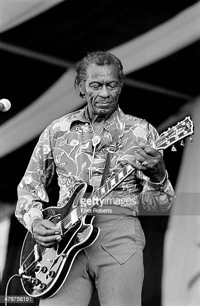 Chuck Berry performing at the New Orleans Jazz and Heritage Festival in New Orleans Louisiana on April 30 1995
