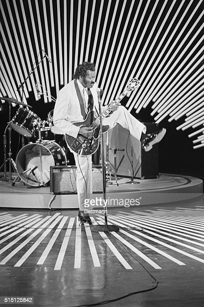 Chuck Berry performing during the taping of a segment for Omnibus in 1980 a revival of the original Omnibus ABC television show