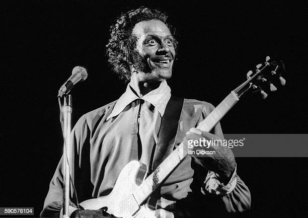 Chuck Berry performing on stage at The Rainbow Theatre London 7 September 1973