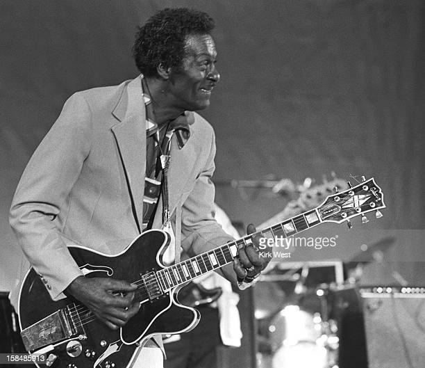 Chuck Berry performs at the Chicago Blues Fest Chicago Illinois June 6 1986