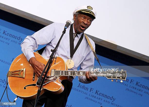 Chuck Berry performs during the 2012 Awards for Lyrics of Literary Excellence at The John F Kennedy Presidential Library And Museum on February 26...