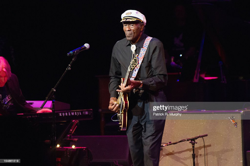 Chuck Berry performs during the Chuck Berry Tribute Concert at the State Theatre on October 27, 2012 in Cleveland, Ohio.