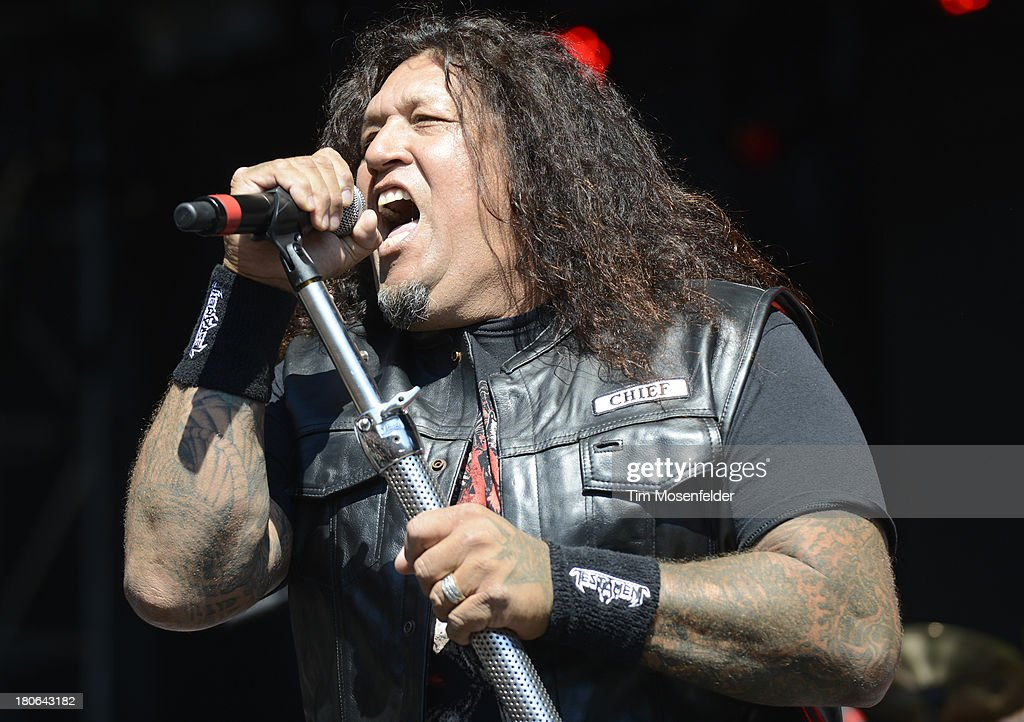 Chuck Billy of Testament performs as part of the Aftershock Music Festival at Discovery Park on September 14, 2013 in Sacramento, California.