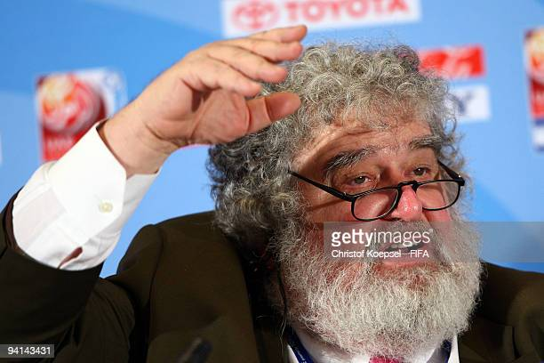Chuck Blazer chiarman of FIFA Club World Cup organising committee attends a press conference held by the FIFA organising committee at the Emirates...