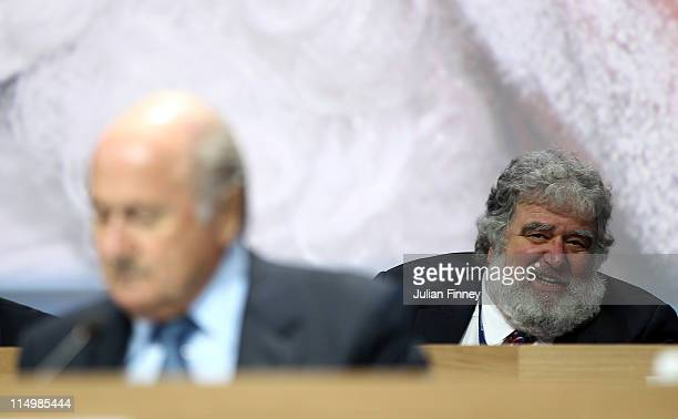Chuck Blazer FIFA member is seen behind Presedent of FIFA Joseph SBlatter during the 61st FIFA Congress at Hallenstadion on June 1 2011 in Zurich...