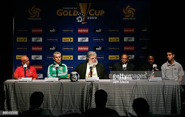 Chuck Blazer General Secretary of CONCACAF and head coaches Javier Aguirre Jairo Campos Rodrigo Kenton and Roger Salnot during a CONCACAF press...