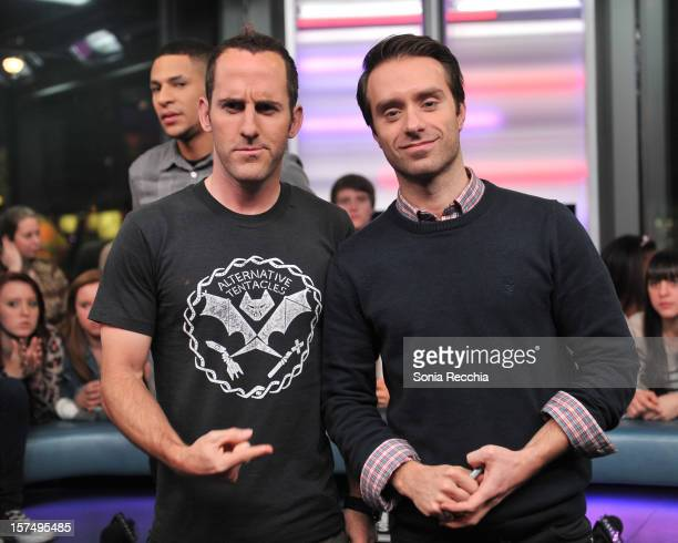 Chuck Comeau and Sebastien Lefebvre attend Simple Plan On NewMusicLive attends at MuchMusic Headquarters on December 3 2012 in Toronto Canada