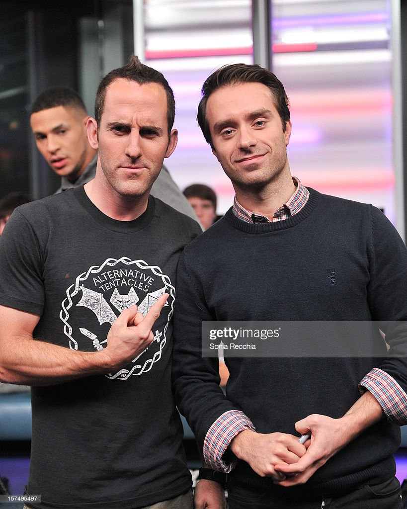 Chuck Comeau and Sebastien Lefebvre attend Simple Plan On New.Music.Live attends at MuchMusic Headquarters on December 3, 2012 in Toronto, Canada.