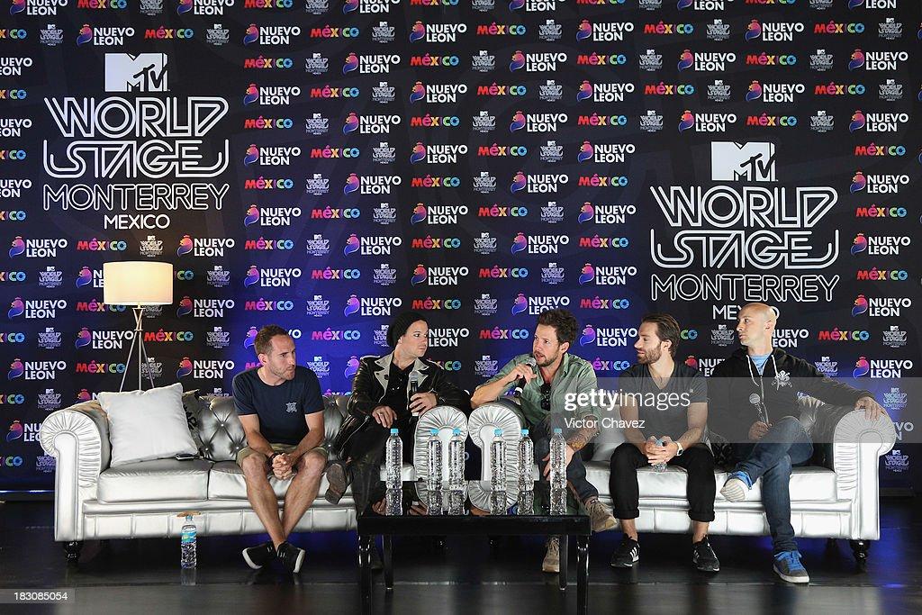 Chuck Comeau David Desrosiers Pierre Bouvier Sebastien Lefebvre Jeff Stinco of Simple Plan attends a press conference during the MTV World Stage...