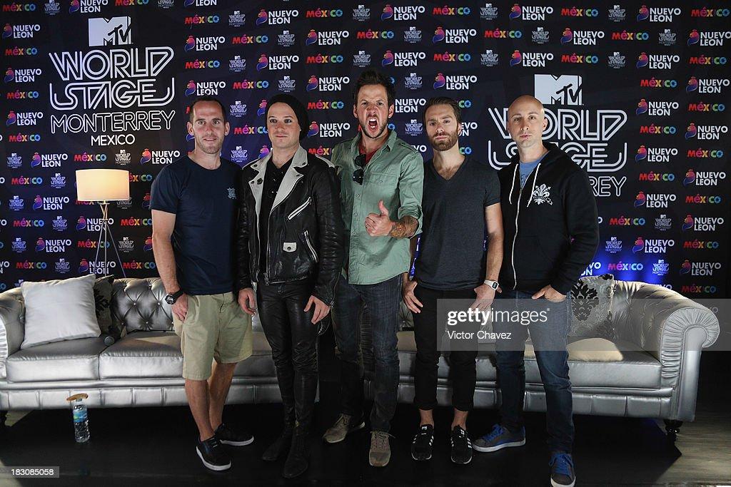 Chuck Comeau David Desrosiers Pierre Bouvier Sebastien Lefebvre Jeff Stinco of Simple Plan attend a press conference during the MTV World Stage...