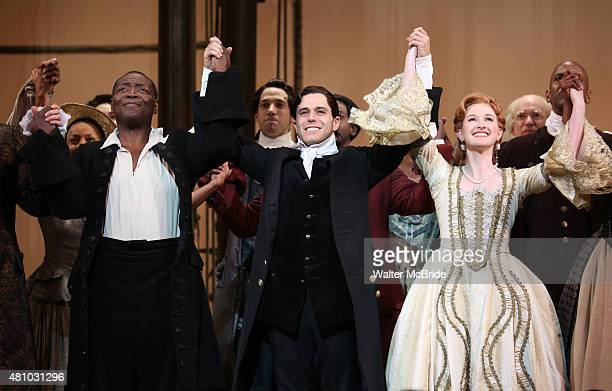 Chuck Cooper Josh Young and Erin Mackey during the Broadway Opening Night Performance Curtain Call for 'Amazing Grace' at the Nederlander Theatre on...