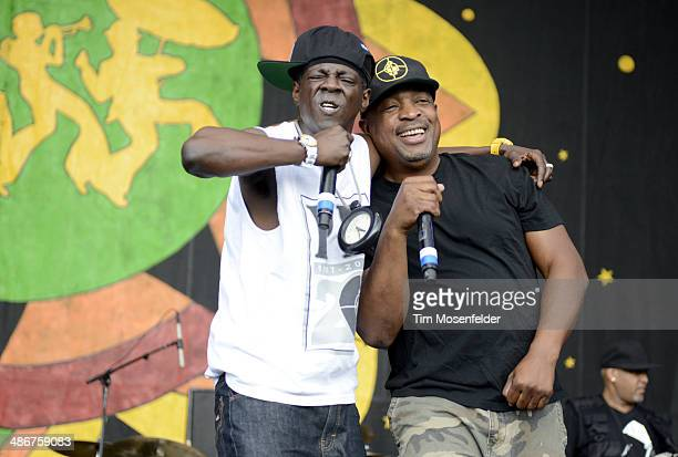 Chuck D and Flavor Flav of Public Enemy perform during the 2014 New Orleans Jazz Heritage Festival at Fair Grounds Race Course on April 25 2014 in...