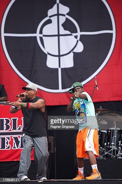 Chuck D and Flavor Flav of Public Enemy perform on Day 3 of the Way Out West Festival at Slottskogen on August 10 2013 in Gothenburg Sweden